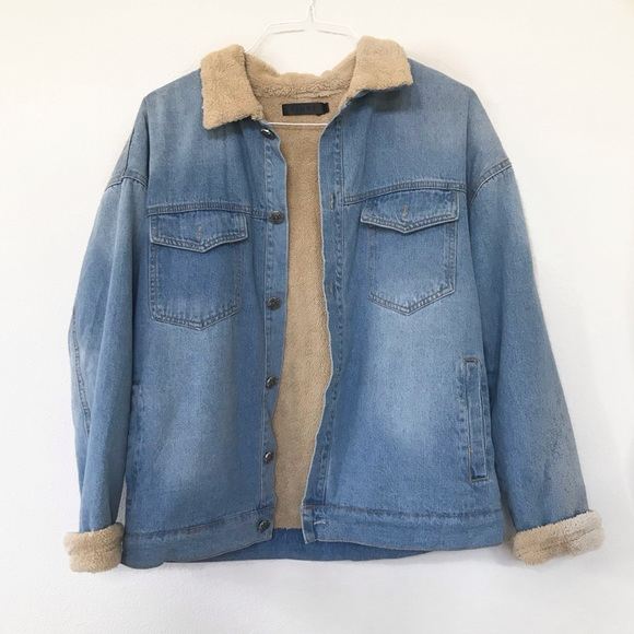 hot sale online new arrive high quality materials Boohoo Shirpa Teddy Bear Denim Jean Jacket